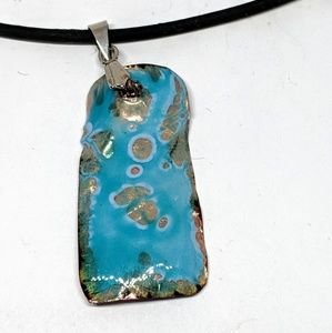 Trippy Blue Enameled Pendant Necklace
